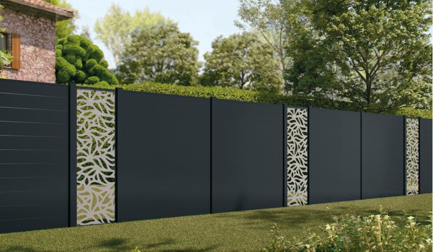 Claustra lames pleines 158 x 15 mm avec module déco motif floral